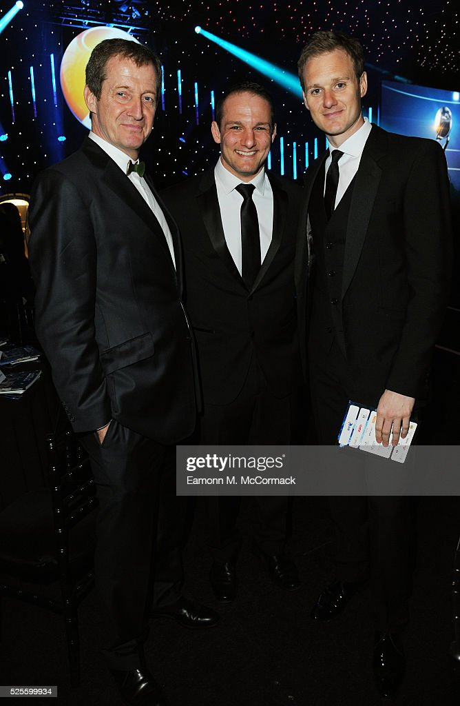Alastair Campbell (L), David Grevemberg and Dan Walker (R) at the BT Sport Industry Awards 2016 at Battersea Evolution on April 28, 2016 in London, England. The BT Sport Industry Awards is the most prestigious commercial sports awards ceremony in Europe, where over 1750 of the industry's key decision-makers mix with high profile sporting celebrities for the most important networking occasion in the sport business calendar.