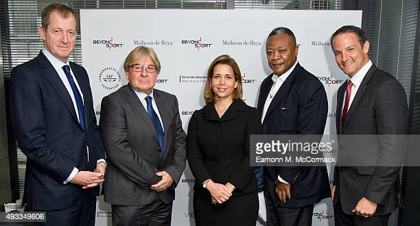 Alastair Campbell Mike Lee HRH Princess Haya Bint Al Hussein Rene Carayol and David Grevemberg at the Beyond Sport Summit on October 19 2015 in...