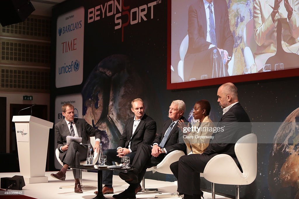 Alastair Campbell moderates a panel discussion with Rugby World Cup Winning Captain Francois Pienaar President of UNICEF UK Lord Ashdown Director of...