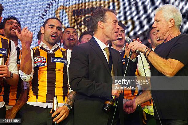 Alastair Clarkson and the Hawthorn Hawks join Daryl Braithwaite in a performance of Horses during the Hawthorn Hawks AFL Grand Final dinner at Crown...
