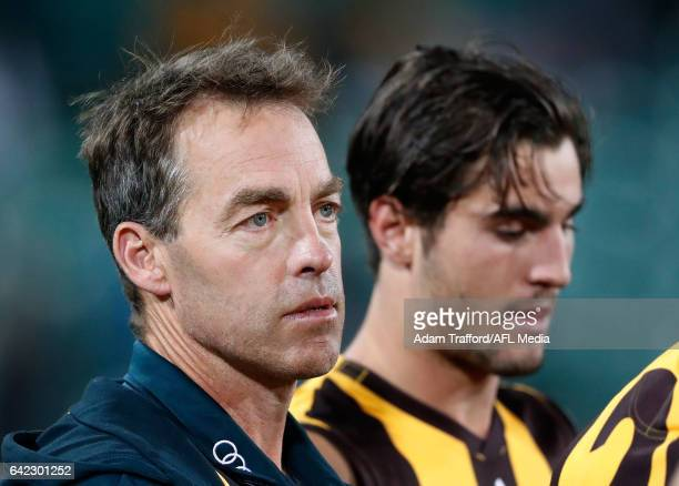 Alastair Clarkson Senior Coach of the Hawks addresses his players during the AFL 2017 JLT Community Series match between the Hawthorn Hawks and the...