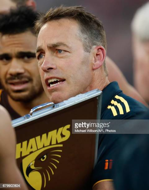 Alastair Clarkson Senior Coach of the Hawks addresses his players during the 2017 AFL round 07 match between the Melbourne Demons and the Hawthorn...