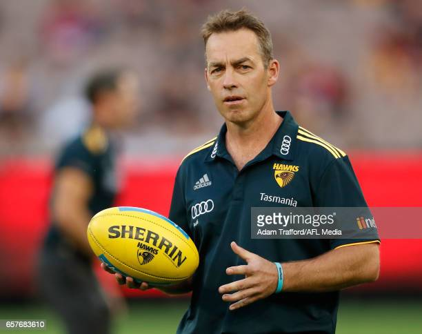 Alastair Clarkson Senior Coach of the Hawks looks on during the 2017 AFL round 01 match between the Essendon Bombers and the Hawthorn Hawks at the...