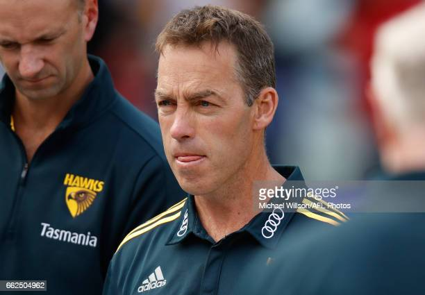Alastair Clarkson Senior Coach of the Hawks looks on during the 2017 AFL round 02 match between the Hawthorn Hawks and the Adelaide Crows at the...