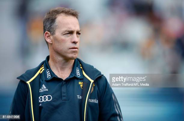 Alastair Clarkson Senior Coach of the Hawks looks on during the 2017 AFL round 17 match between the Geelong Cats and the Hawthorn Hawks at the...