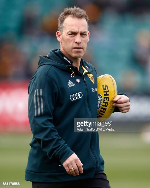 Alastair Clarkson Senior Coach of the Hawks looks on during the 2017 AFL round 21 match between the Hawthorn Hawks and the North Melbourne Kangaroos...