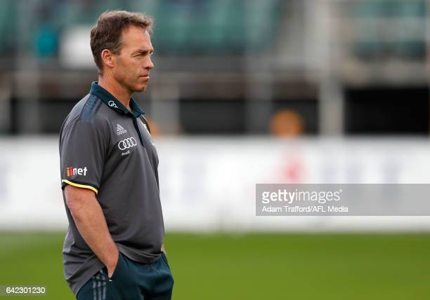 Alastair Clarkson Senior Coach of the Hawks looks on during the AFL 2017 JLT Community Series match between the Hawthorn Hawks and the Geelong Cats...