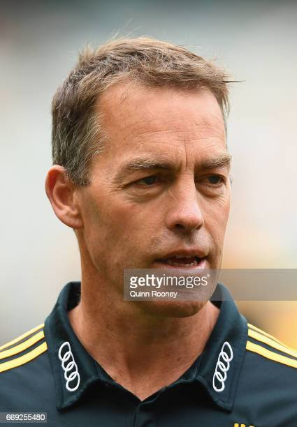 Alastair Clarkson the coach of the Hawks looks on during the round four AFL match between the Hawthorn Hawks and the Geelong Cats at Melbourne...