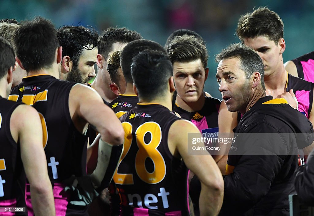 Alastair Clarkson the coach of the hawks talks to his players during the round 14 AFL match between the Hawthorn Hawks and the Gold Coast Suns at Aurora Stadium on June 26, 2016 in Launceston, Australia.