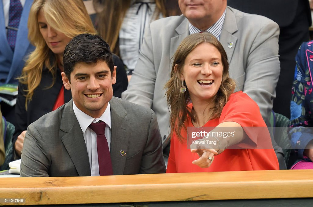 <a gi-track='captionPersonalityLinkClicked' href=/galleries/search?phrase=Alastair+Cook+-+Cricket+Player&family=editorial&specificpeople=571475 ng-click='$event.stopPropagation()'>Alastair Cook</a> and Alice Cook attend day five of the Wimbledon Tennis Championships at Wimbledon on July 01, 2016 in London, England.