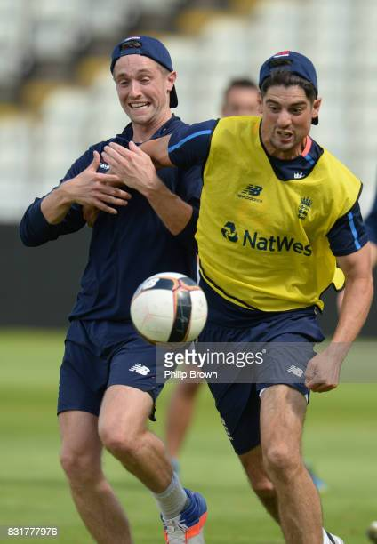 Alastair Cook and Chris Woakes of England during a football game during a training session before the 1st Investec Test match between England and the...