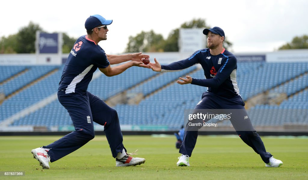 Alastair Cook and Dawid Malan of England take part in a fielding drill during a nets session at Headingley on August 23, 2017 in Leeds, England.