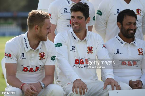 Alastair Cook and Jamie Porter share a joke as they pose in the Specsavers County Championship kit during the Essex CCC photocall at Cloudfm County...