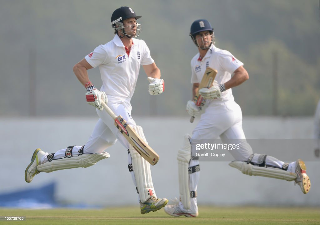 <a gi-track='captionPersonalityLinkClicked' href=/galleries/search?phrase=Alastair+Cook+-+Cricket+Player&family=editorial&specificpeople=571475 ng-click='$event.stopPropagation()'>Alastair Cook</a> and <a gi-track='captionPersonalityLinkClicked' href=/galleries/search?phrase=Nick+Compton&family=editorial&specificpeople=654760 ng-click='$event.stopPropagation()'>Nick Compton</a> of England score runs during the tour match between England and Haryana at Sardar Patel Stadium ground B on November 8, 2012 in Ahmedabad, India.