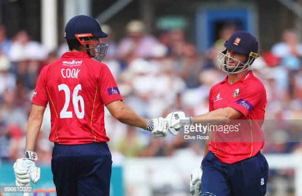 Alastair Cook and Ryan ten Doeschate of Essex touch gloves during the Royal London OneDay Cup Semi Final between Essex and Nottinghamshire at Cloudfm...