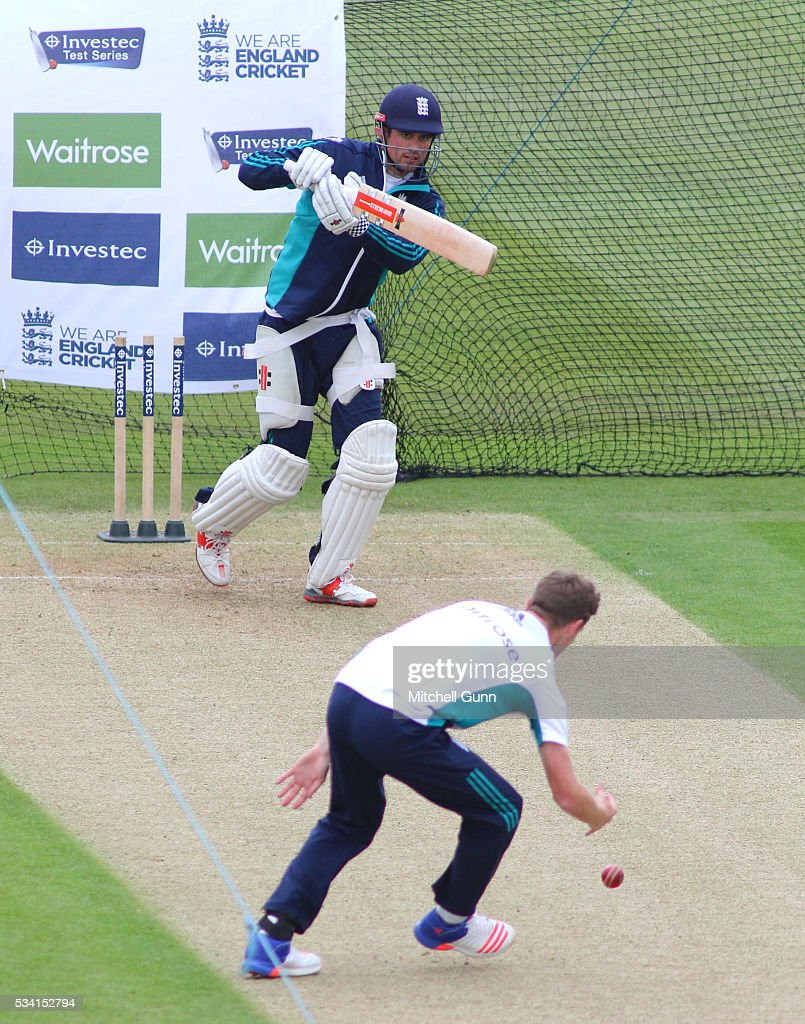 <a gi-track='captionPersonalityLinkClicked' href=/galleries/search?phrase=Alastair+Cook+-+Cricket+Player&family=editorial&specificpeople=571475 ng-click='$event.stopPropagation()'>Alastair Cook</a> batting and <a gi-track='captionPersonalityLinkClicked' href=/galleries/search?phrase=Chris+Woakes&family=editorial&specificpeople=4444585 ng-click='$event.stopPropagation()'>Chris Woakes</a> bowling during England Nets session ahead of the 2nd Investec Test match between England and Sri Lanka at Emirates Durham ICG on May 25, 2016 in Chester-le-Street, United Kingdom.