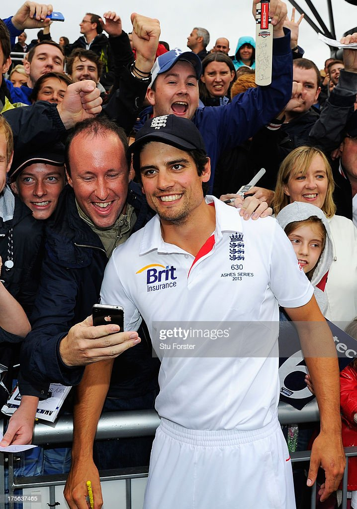<a gi-track='captionPersonalityLinkClicked' href=/galleries/search?phrase=Alastair+Cook+-+Cricket+Player&family=editorial&specificpeople=571475 ng-click='$event.stopPropagation()'>Alastair Cook</a>, captain of England celebrates with fans after England retained the Ashes during day five of the 3rd Investec Ashes Test match between England and Australia at Emirates Old Trafford Cricket Ground on August 5, 2013 in Manchester, England.