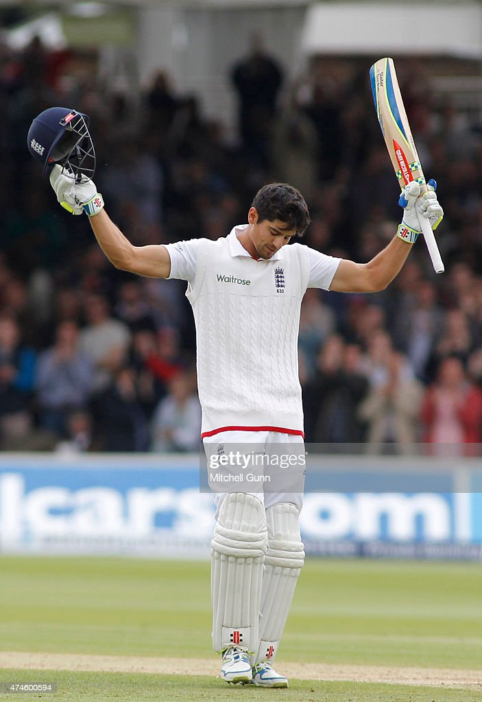 Alastair Cook celebrates scoring a century during day four of the 1st Investec Test match between England and New Zealand at Lord's Cricket Ground on May 24, 2015 in London, England.