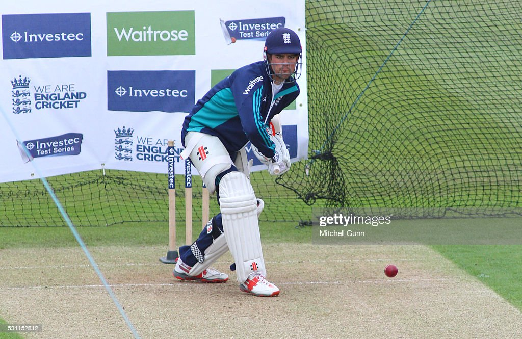 Alastair Cook during England Nets session ahead of the 2nd Investec Test match between England and Sri Lanka at Emirates Durham ICG on May 25, 2016 in Chester-le-Street, United Kingdom.