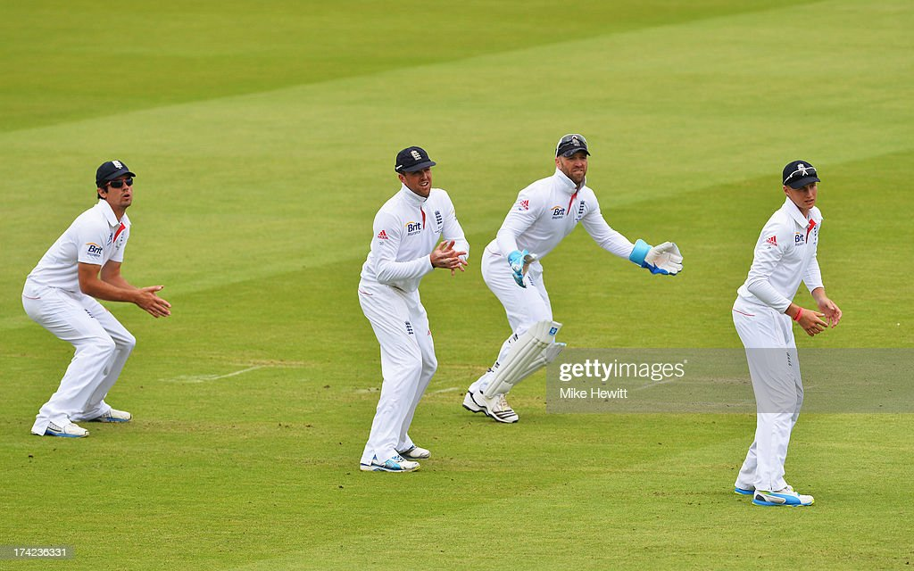 Alastair Cook, Graeme Swann, Matt Prior and Joe Root of England watch the ball run away during day four of the 2nd Investec Ashes Test match between England and Australia at Lord's Cricket Ground on July 21, 2013 in London, England.