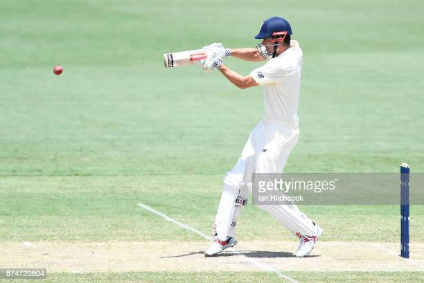 Alastair Cook of England bats during day 2 of the four day tour match between Cricket Australia XI and England at Tony Ireland Stadium on November 16...