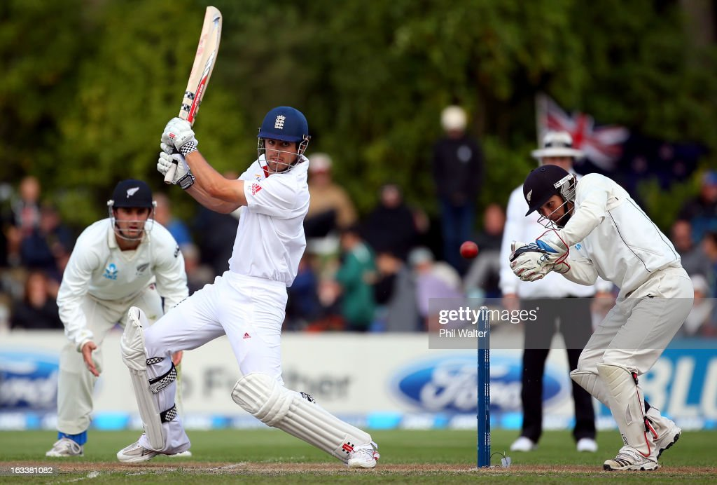 <a gi-track='captionPersonalityLinkClicked' href=/galleries/search?phrase=Alastair+Cook+-+Cricket+Player&family=editorial&specificpeople=571475 ng-click='$event.stopPropagation()'>Alastair Cook</a> of England bats during day four of the First Test match between New Zealand and England at University Oval on March 9, 2013 in Dunedin, New Zealand.