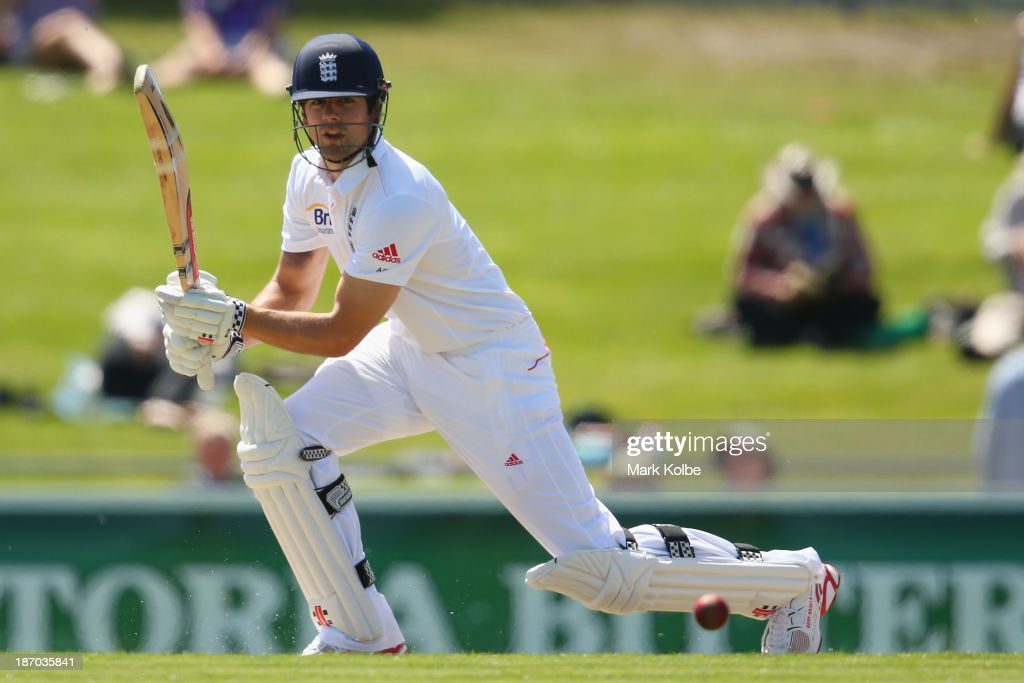 <a gi-track='captionPersonalityLinkClicked' href=/galleries/search?phrase=Alastair+Cook+-+Cricket+Player&family=editorial&specificpeople=571475 ng-click='$event.stopPropagation()'>Alastair Cook</a> of England bats during day one of the tour match between Australia A and England at Blundstone Arena on November 6, 2013 in Hobart, Australia.