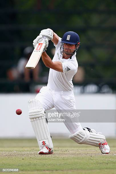 Alastair Cook of England bats during day one of the tour match between South Africa A and England at City Oval on December 20 2015 in...