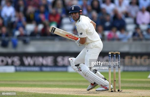 Alastair Cook of England bats during day two of the 1st Investec Test match between England and West Indies at Edgbaston on August 18 2017 in...