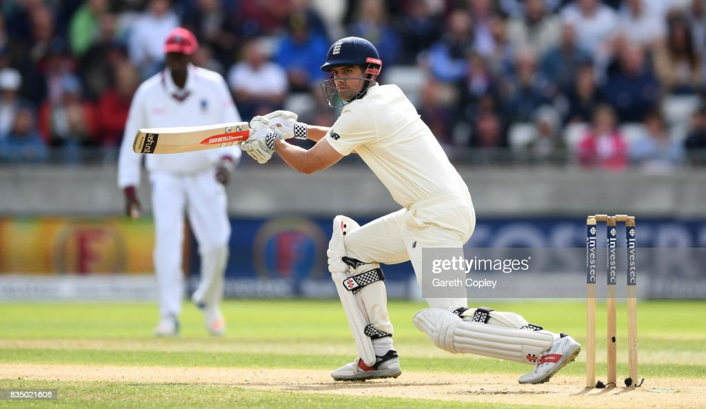 Alastair Cook of England bats during day two of the 1st Investec Test match between England and West Indies at Edgbaston on August 18, 2017 in Birmingham, England.