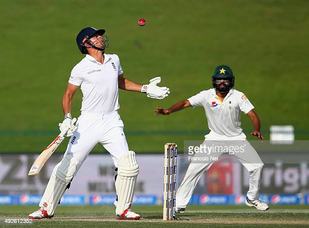 Alastair Cook of England bats during Day Two of the First Test between Pakistan and England at Zayed Cricket Stadium on October 14 2015 in Abu Dhabi...