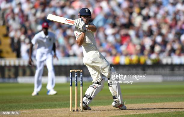 Alastair Cook of England bats during the 1st Investec Test match between England and West Indies at Edgbaston on August 17 2017 in Birmingham England