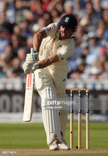 Alastair Cook of England bats during the first day of the 1st Investec Test match between England and the West Indies at Edgbaston cricket ground on...