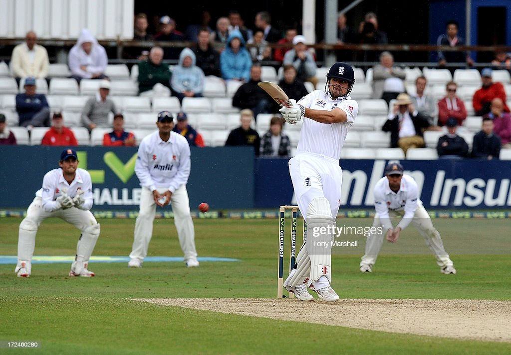 <a gi-track='captionPersonalityLinkClicked' href=/galleries/search?phrase=Alastair+Cook+-+Cricket+Player&family=editorial&specificpeople=571475 ng-click='$event.stopPropagation()'>Alastair Cook</a> of England batting during the LV= Challenge match between Essex and England at The Ford County Ground on July 2, 2013 in Chelmsford, England.