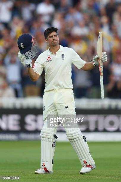 Alastair Cook of England celebrates reaching his century during day one of the 1st Investec Test match between England and West Indies at Edgbaston...