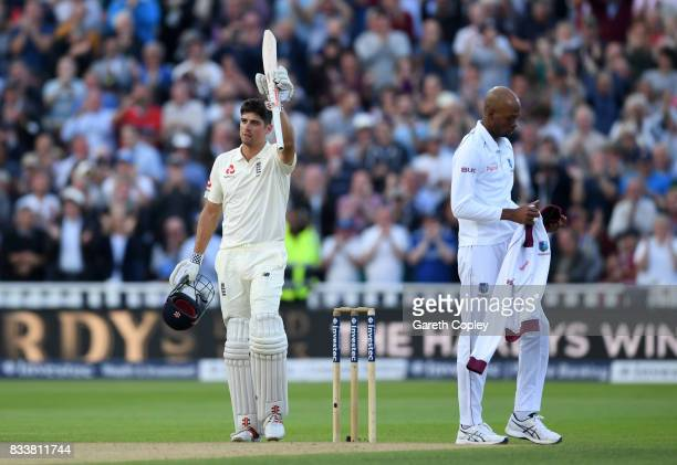 Alastair Cook of England celebrates reaching his century during the 1st Investec Test match between England and West Indies at Edgbaston on August 17...