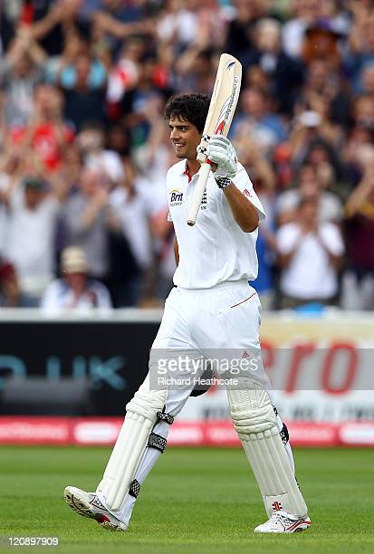 Alastair Cook of England celebrates reaching his double century during day three of the 3rd npower Test at Edgbaston on August 12 2011 in Birmingham...