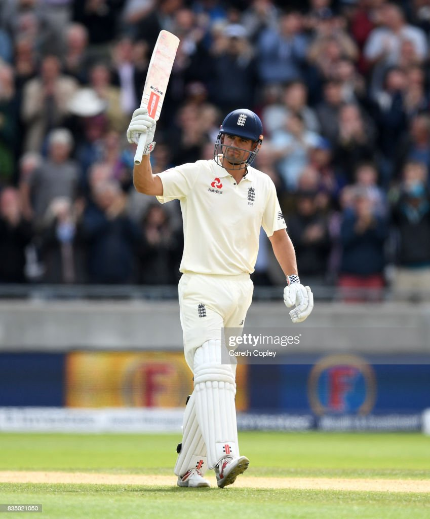 Alastair Cook of England celebrates reaching his double century during day two of the 1st Investec Test match between England and West Indies at Edgbaston on August 18, 2017 in Birmingham, England.