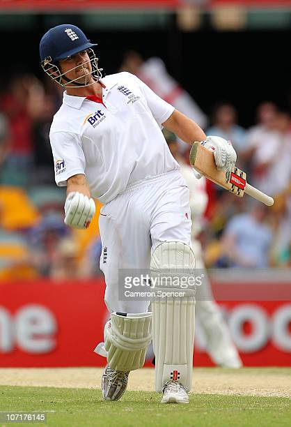 Alastair Cook of England celebrates scoring a century during day four of the First Ashes Test match between Australia and England at The Gabba on...