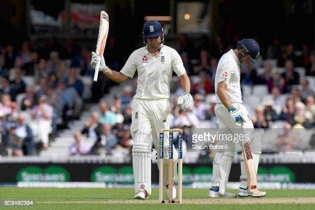 Alastair Cook of England celebrates scoring half a century during Day One of the 3rd Investec Test match between England and South Africa at The Kia...