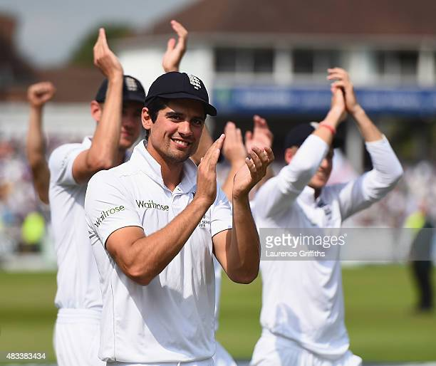 Alastair Cook of England celebrates winning the Ashes as he leads the team around the ground during day three of the 4th Investec Ashes Test match...