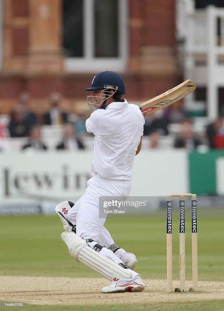 Alastair Cook of England hits out during day 5 of the 1st Investec Test match between England and West Indies at Lord's Cricket Ground on May 21, 2012 in London, England.