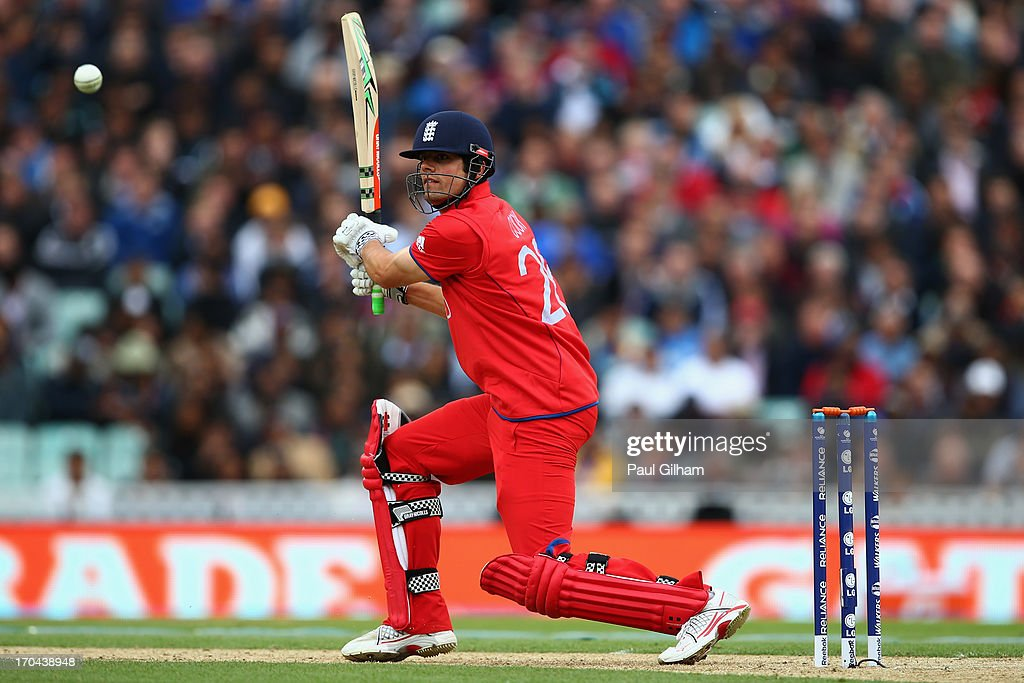 Alastair Cook of England hits out during the ICC Champions Trophy Group A match between England and Sri Lanka at The Kia Oval on June 13, 2013 in London, England.