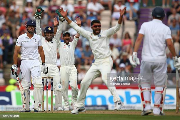 Alastair Cook of England is caughtfor 95 runs by wicketkeeper MS Dhoni off the bowling of Ravindra Jadeja of India during day one of the 3rd Investec...