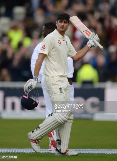 Alastair Cook of England leaves the field after being dismissed during the second day of the 1st Investec Test match between England and the West...