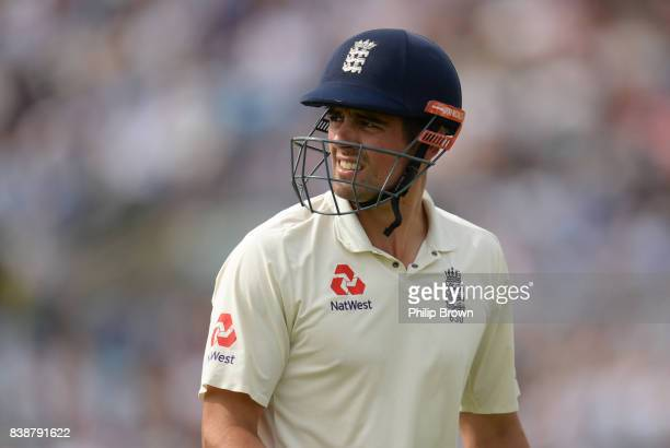 Alastair Cook of England leaves the field after being dismissed during the 2nd Investec Test match between England and the West Indies at Headingley...