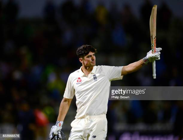 Alastair Cook of England leaves the field at stumps after the first day of the 1st Investec Test match between England and the West Indies at...