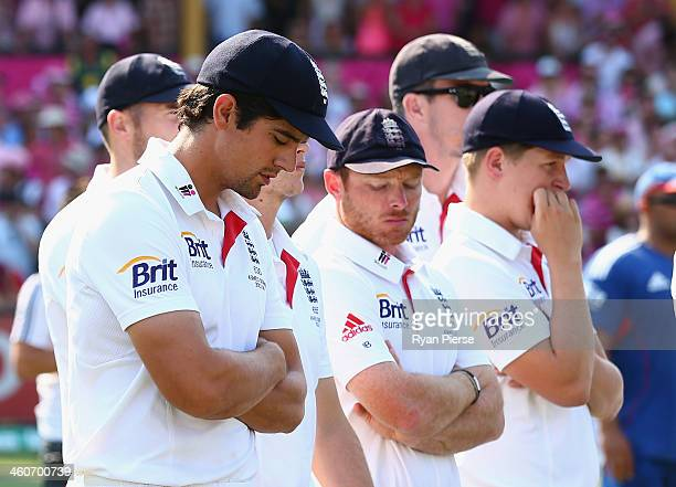 Alastair Cook of England looks dejected during day three of the Fifth Ashes Test match between Australia and England at Sydney Cricket Ground on...