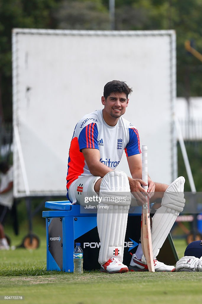 Alastair Cook of England looks on after batting practice during England media access at the Wanderers Stadium on January 13, 2016 in Johannesburg, South Africa.