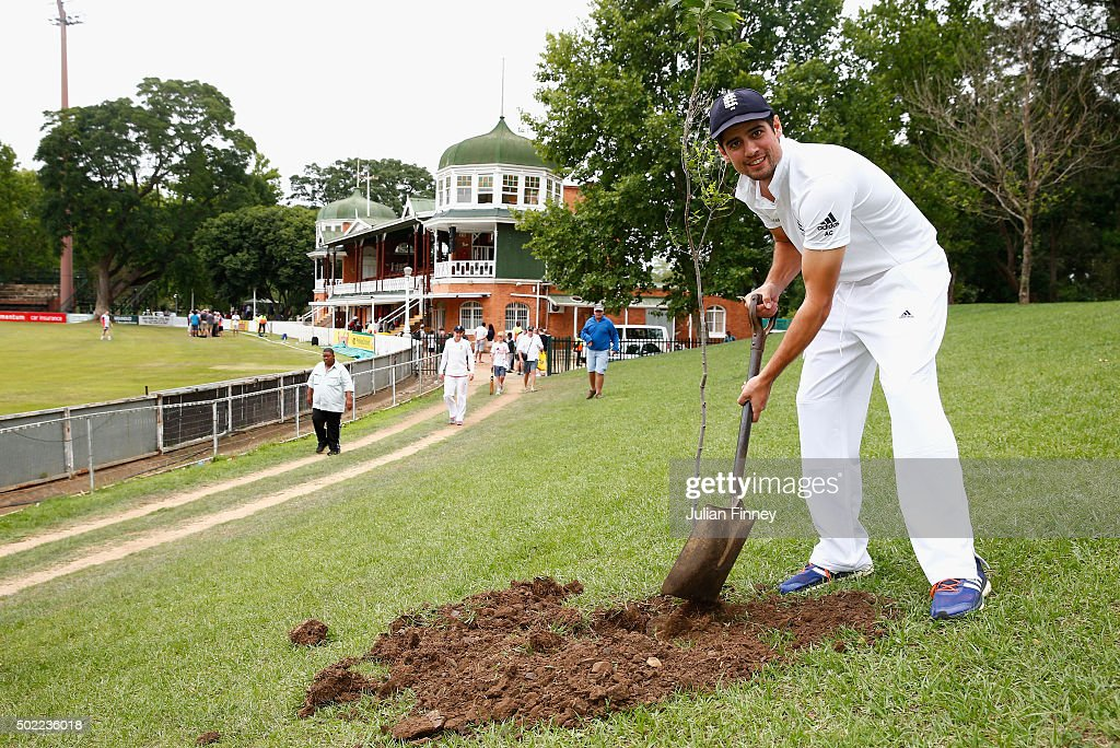 <a gi-track='captionPersonalityLinkClicked' href=/galleries/search?phrase=Alastair+Cook+-+Cricket+Player&family=editorial&specificpeople=571475 ng-click='$event.stopPropagation()'>Alastair Cook</a> of England plants a tree after scoring a century, a honour given to any international batsman scoring 100 runs at the City Oval during day three of the tour match between South Africa A and England at City Oval on December 22, 2015 in Pietermaritzburg, South Africa.